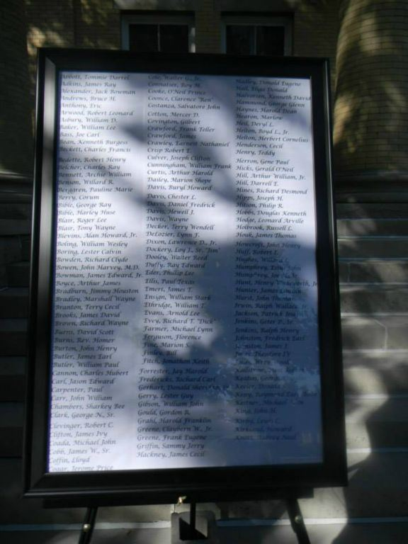 List of War Dead, in frame, up close